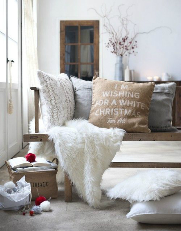 enchanting-home-interior-designs-with-wooden-bencj-plus-cushions-and-white-faux-fur-blanket-on-concrete-flooring-inspiring-for-Satisfying-Fur-for-Home-Decor-at-Winter-Season