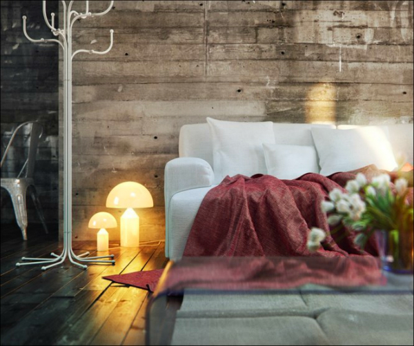 white-sofa-red-blanket-mushrooms-light-tulips-flower-in-the-vase-and-white-hatstand-in-the-wooden-floor-and-wall