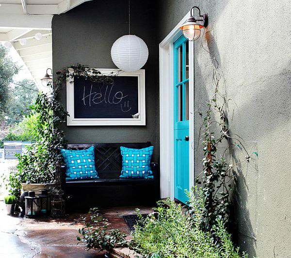 Colorful-Front-Entry-With-Blue-Pillows-And-Door