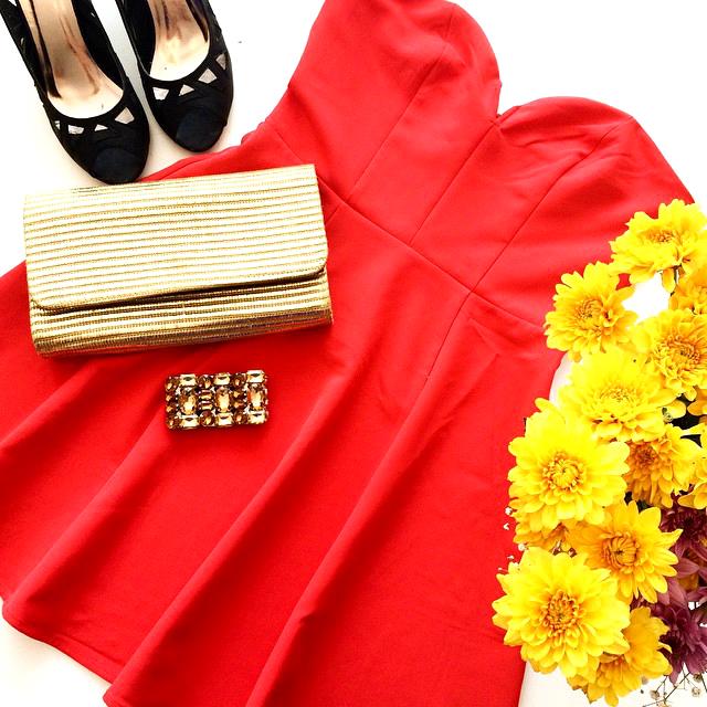 שמלה אדומה h&m